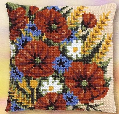 Bloemen rood, blauw, wit en geel