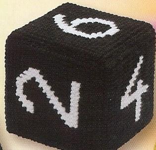 Dobbelsteen zwart met witte cijfers