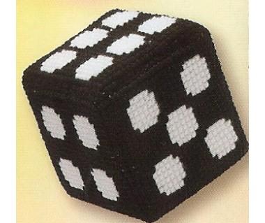 Dobbelsteen zwart met punten in wit